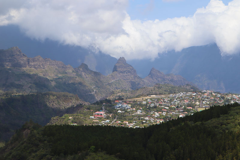 View of Cilaos from Piton des Neiges hike - Reunion Island
