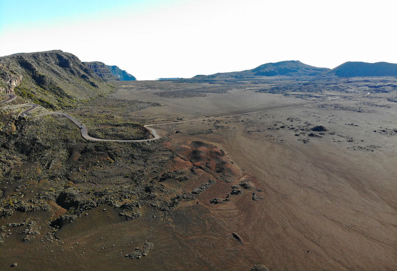 Aerial view of road to Piton de la Fournaise via Pas de Sables - Reunion Island