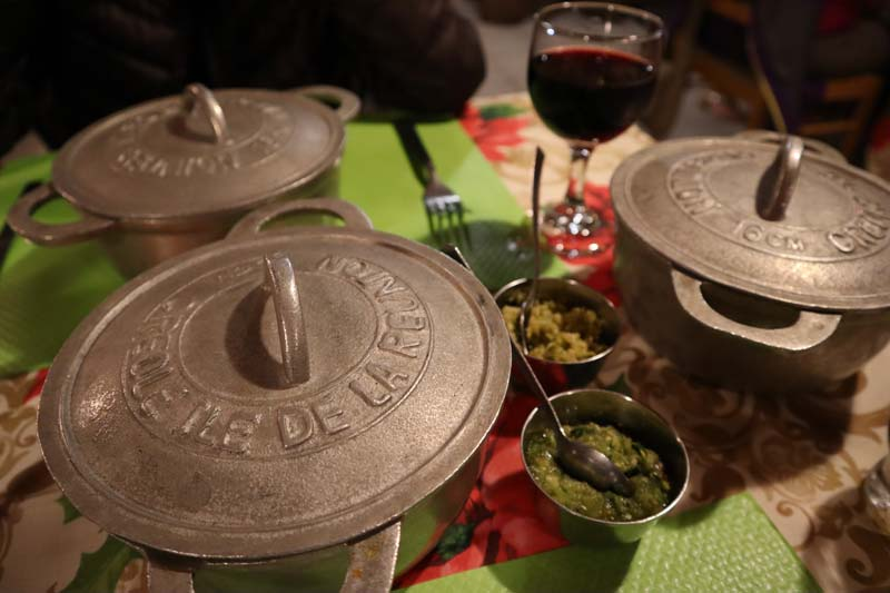 Chez Alice - typical creole restuarant - Hell Bourg - Reunion Island - metal pots