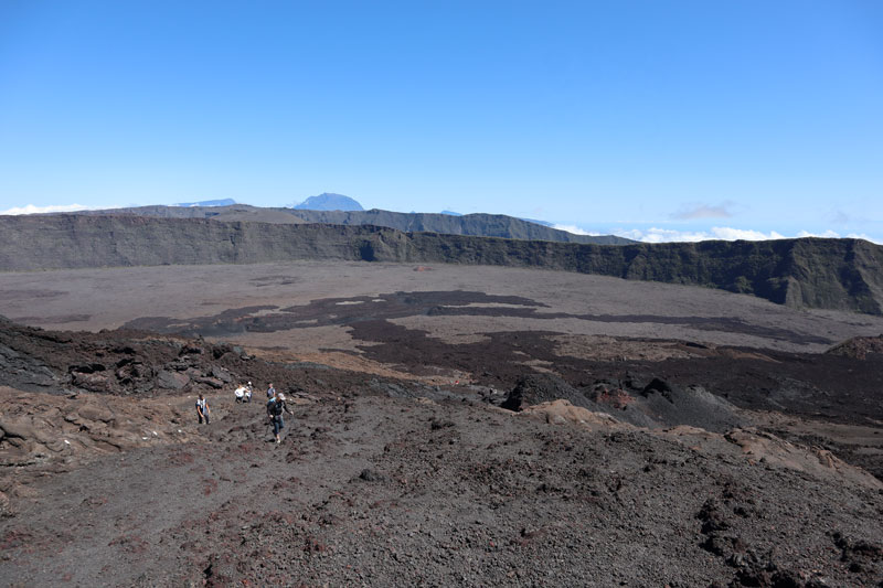 Hikers on trail to Dolomieu Crater - Reunion Island