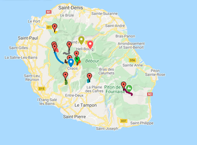 Map of the Best Hikes in Reunion Island