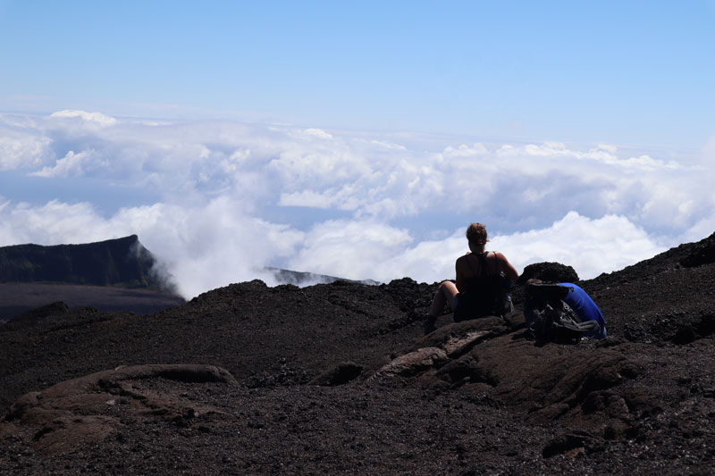 Over the cloud line in Dolomieu Crater - Piton de la Fournaise - Reunion Island