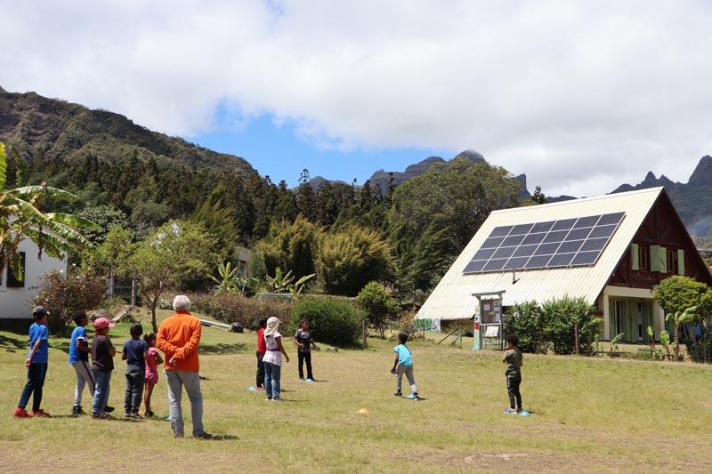 School children in La Nouvelle - - cirque de Mafate - Reunion Island