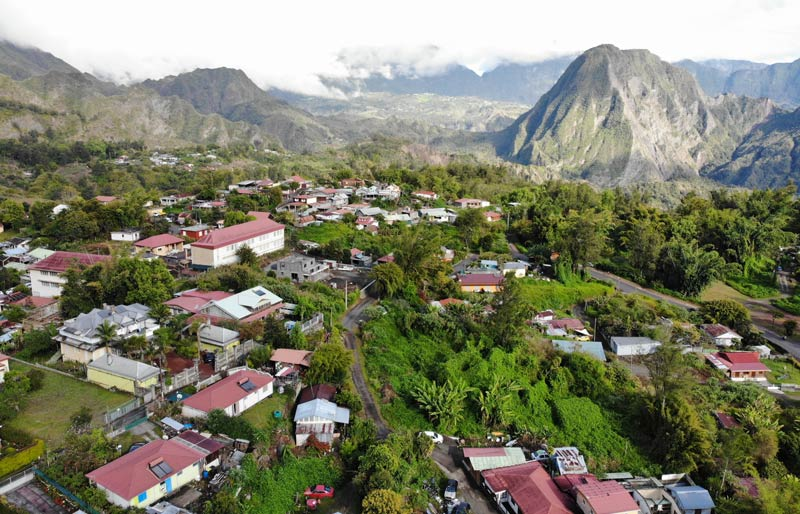 aerial view of - Hell-Bourg - Cirque de Salazie - Reunion Island