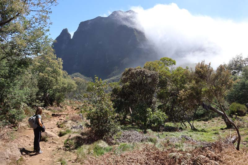 clouds blocked on hike to La Nouevelle - cirque de Mafate - Reunion Island