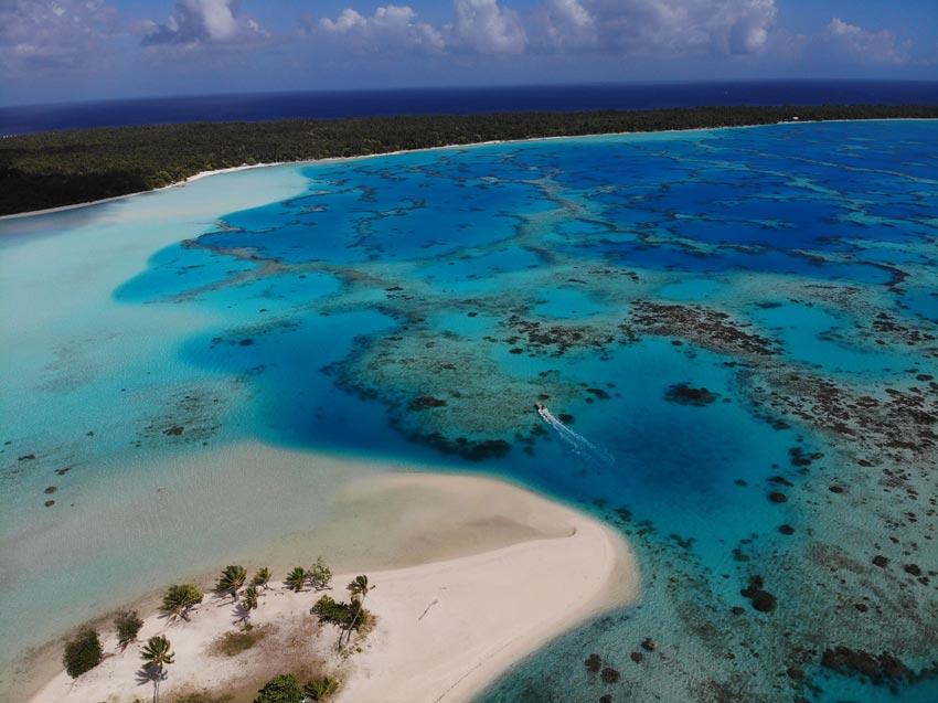 Boat in Tereia Beach Maupiti French Polynesia