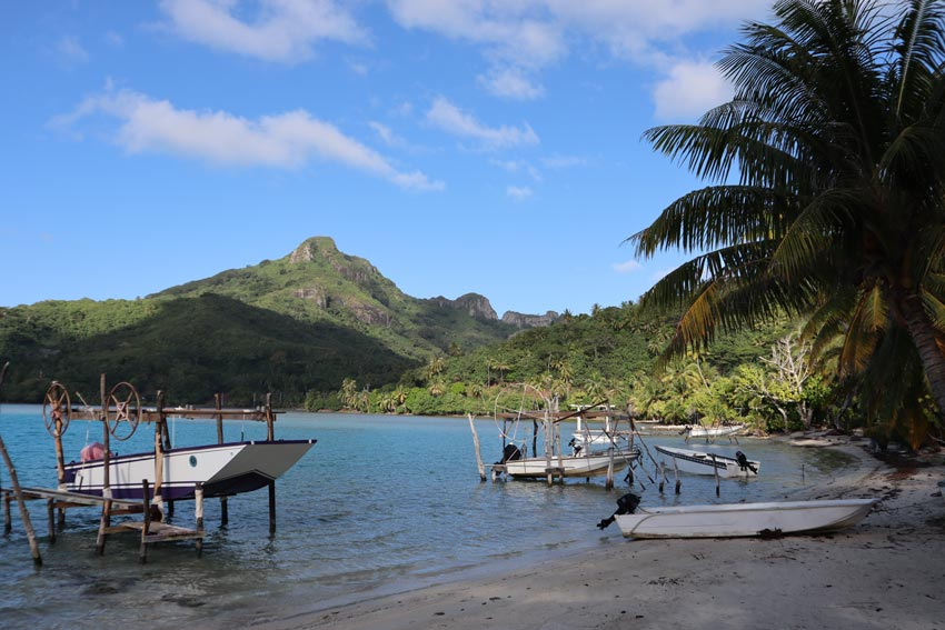 Boats in the air in Maupiti French Polynesia