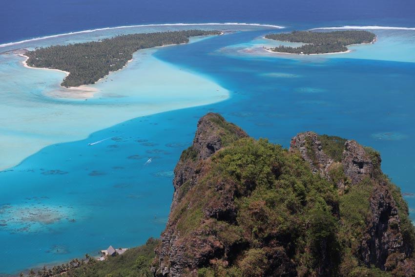 Closeup view of Maupiti lagoon pass from Mount Teurafaatiu hike - French Polynesia