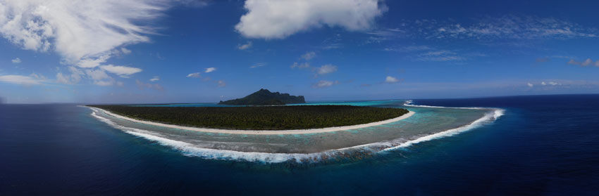 Maupiti French Polynesia panoramic view from the air