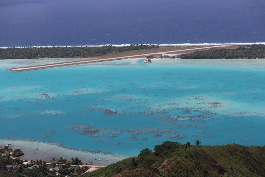 Maupiti airport from Mount Teurafaatiu hike - French Polynesia