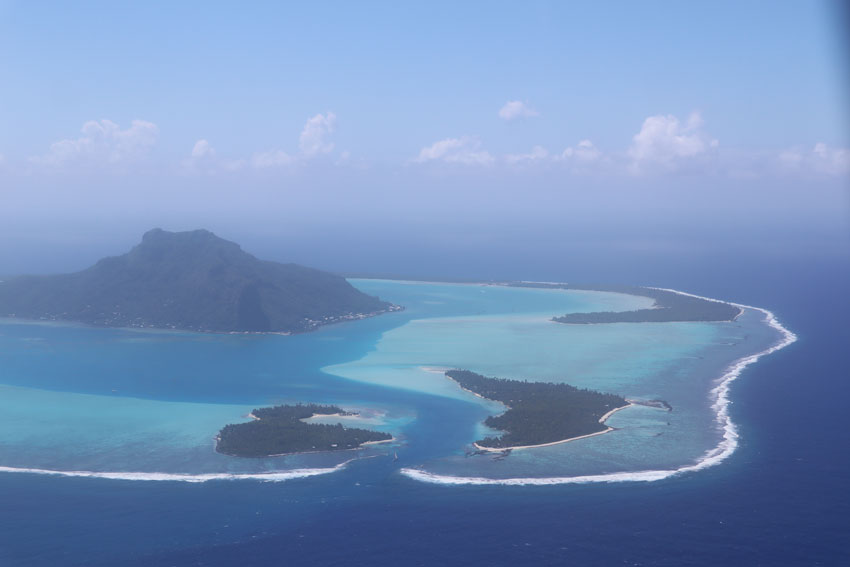 Maupiti lagoon pass French Polyensia aerial view