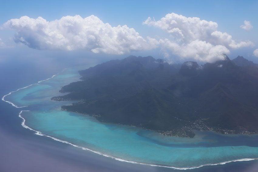 Moorea French Polynesia lagoon aerial view