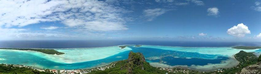 Panoramic view of Maupiti from Mount Teurafaatiu hike - French Polynesia