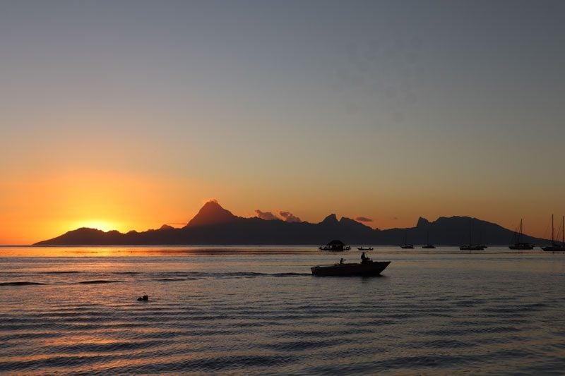 Sunset over Moorea from Tahiti - French Polynesia