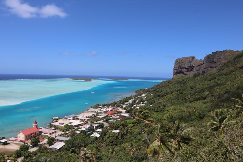 Vaiea Village from Mount Teurafaatiu hike - French Polynesia - Maupiti