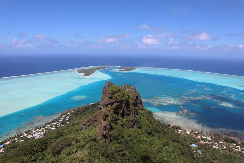 View from summit of Mount Teurafaatiu hike - French Polynesia - Maupiti