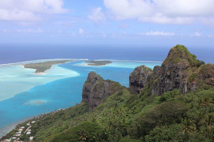 View of Maupiti lagoon pass from Mount Teurafaatiu hike - French Polynesia