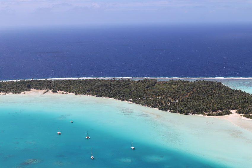 View of Maupiti motu from Mount Teurafaatiu hike - French Polynesia