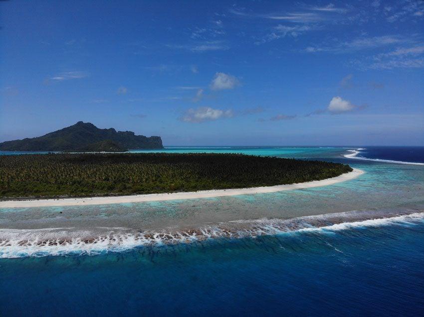 aerial view of motu auira - Maupiti - French Polynesia