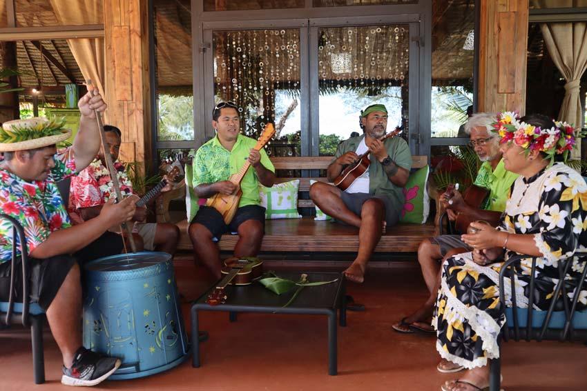 locals playing music in Vaitumu Village - Rurutu - Austral islands - French Polynesia