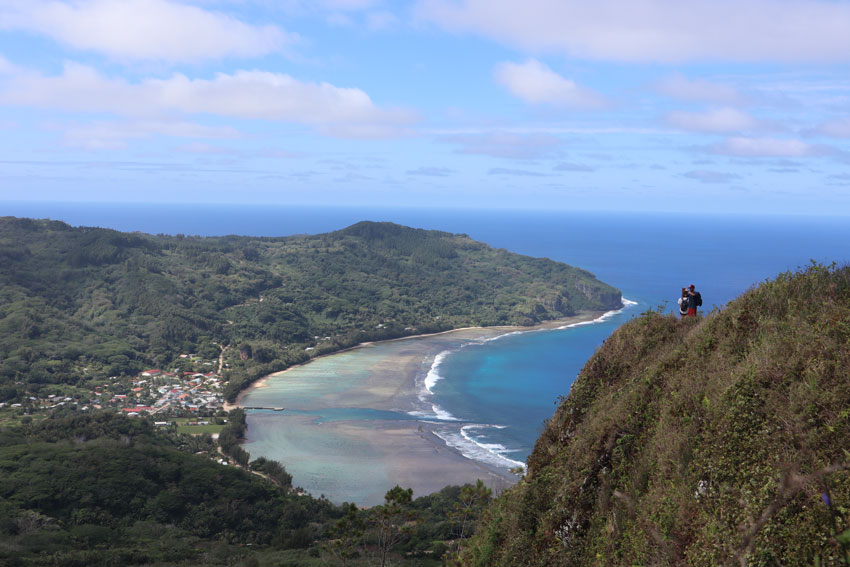 Avera Bay from summit of mount manureva hike - rurutu - austral islands - french polynesia