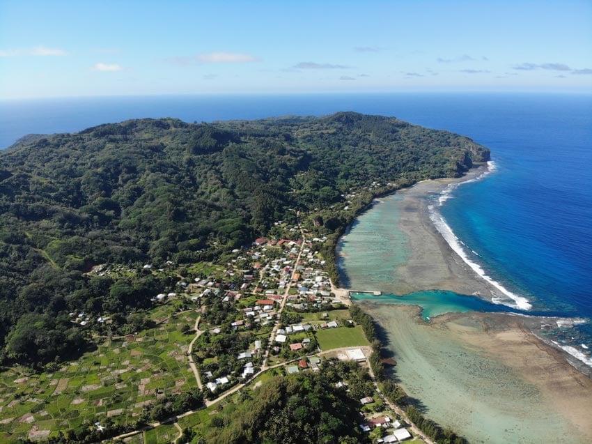 Avera village and taro fields - rurutu - austral islands - french polynesia