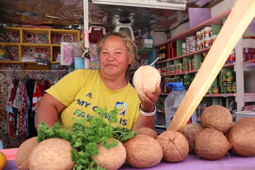 fresh coconut from local - tubuai - austral islands - french polynesia