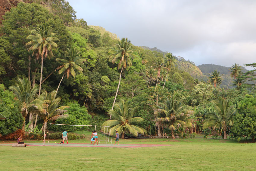 local children playing volleyball Hanaiapa - Hiva Oa - Marquesas Islands - French Polynesia