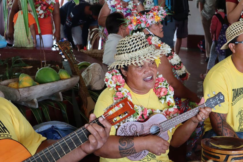 local playing at airport - tubuai - austral islands - french polynesia