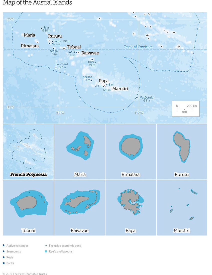 map of the austral islands - french polynesia
