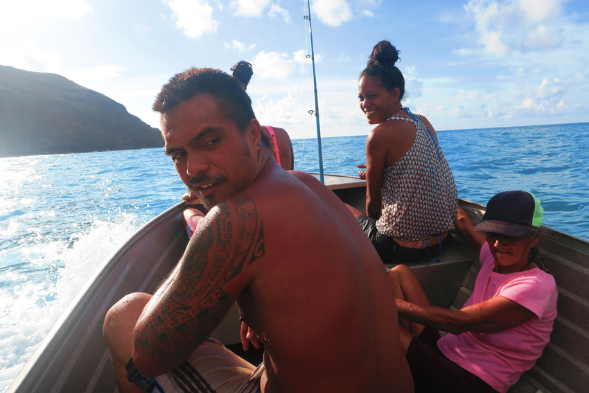 taking boat with fishermen - hiva oa - Marquesas Islands - French Polynesia