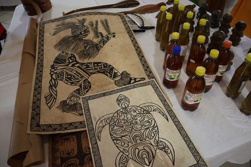 tapa in artist market - Ua Pou - Marquesas Islands - French Polynesia