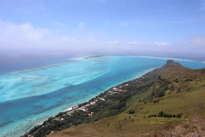 view of village from mount hiro hike - raivavae - austral islands - french polynesia