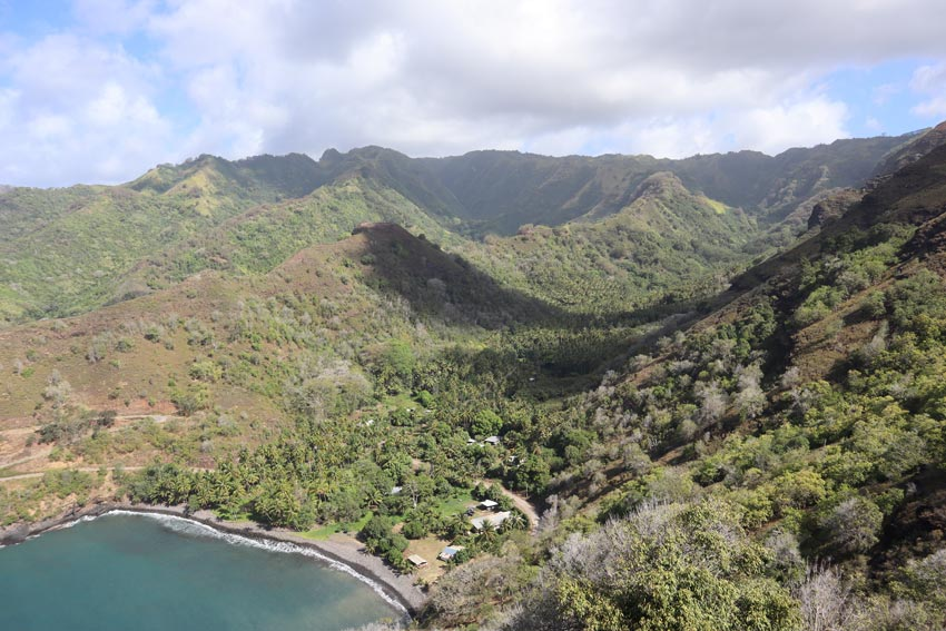 wild bay and valley on drive to puamau - Hiva Oa - Marquesas Islands - French Polynesia