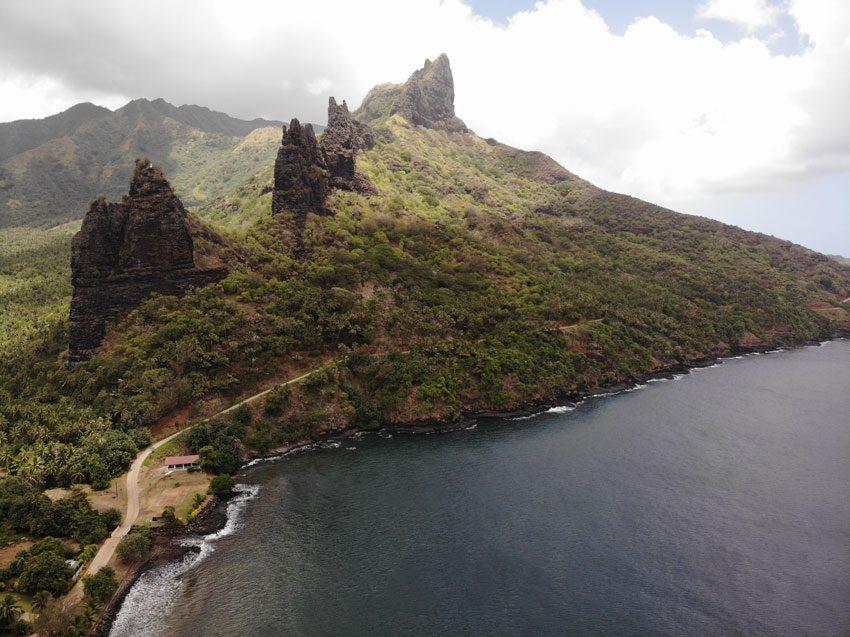 Hatiheu village cliffs - nuku hiva - marquesas islands - french polynesia