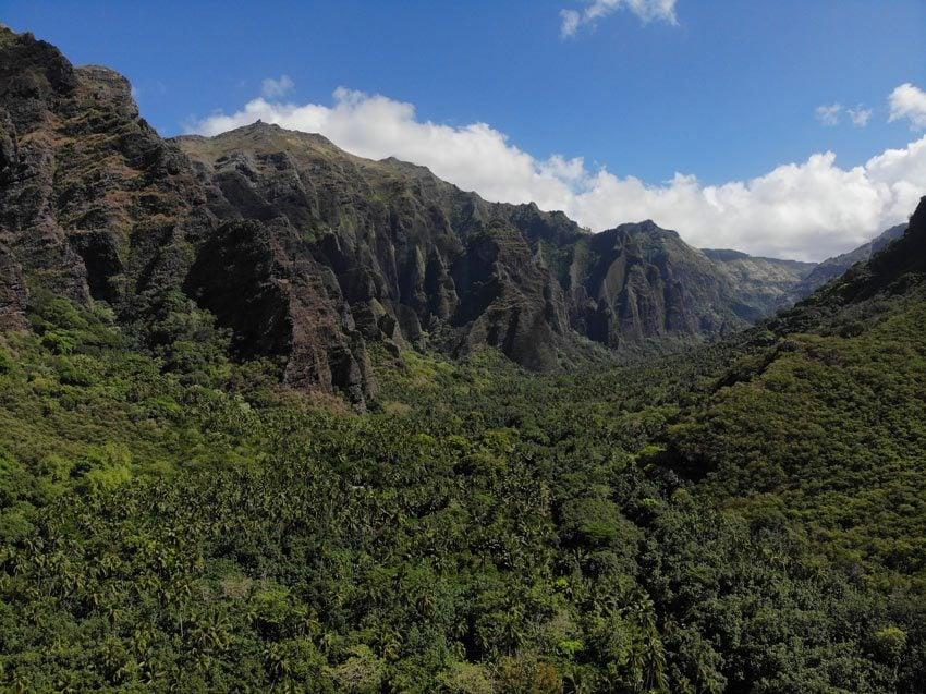 Jagged basalt cliffs in Hakaui Valley - nuku hiva - marquesas islands - french polynesia