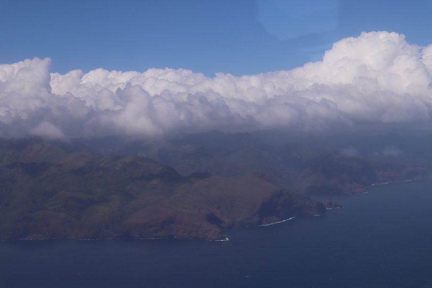 aerial view desert land - nuku hiva - marquesas islands - french polynesia