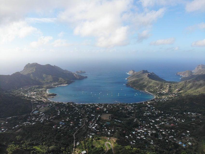 aerial view of Taiohae - nuku hiva - marquesas islands - french polynesia