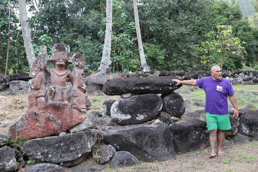 alvane in Hikokua archeological site - nuku hiva - marquesas islands - french polynesia