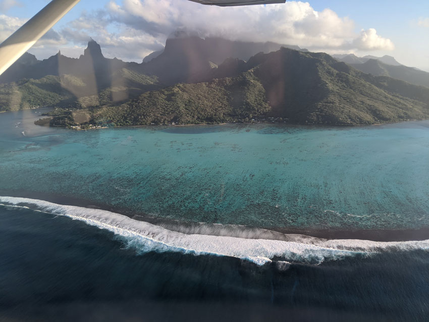 barrier reef on scenic flight - moorea - french polynesia