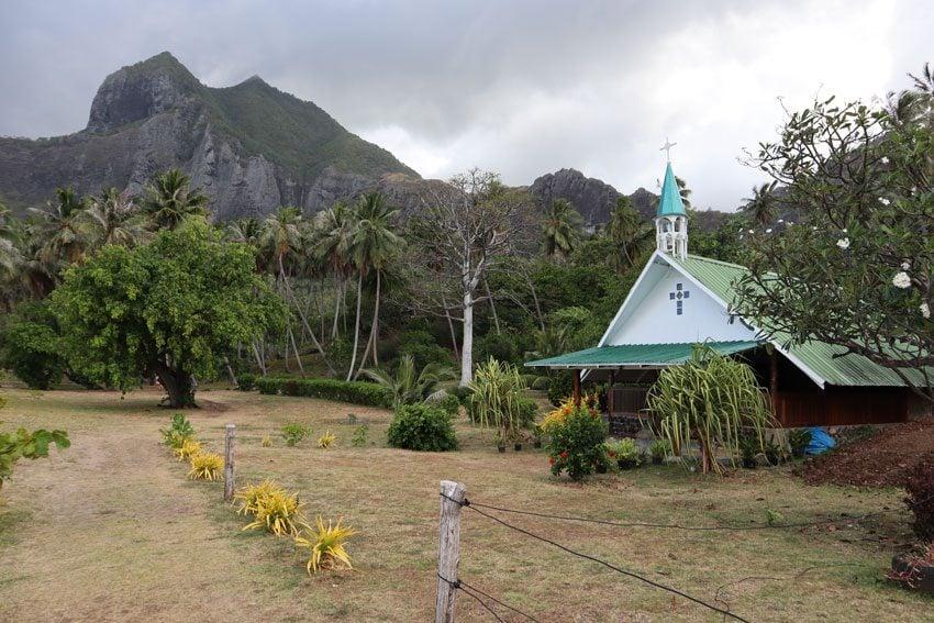 church in Anaho Bay - nuku hiva - marquesas islands - french polynesia