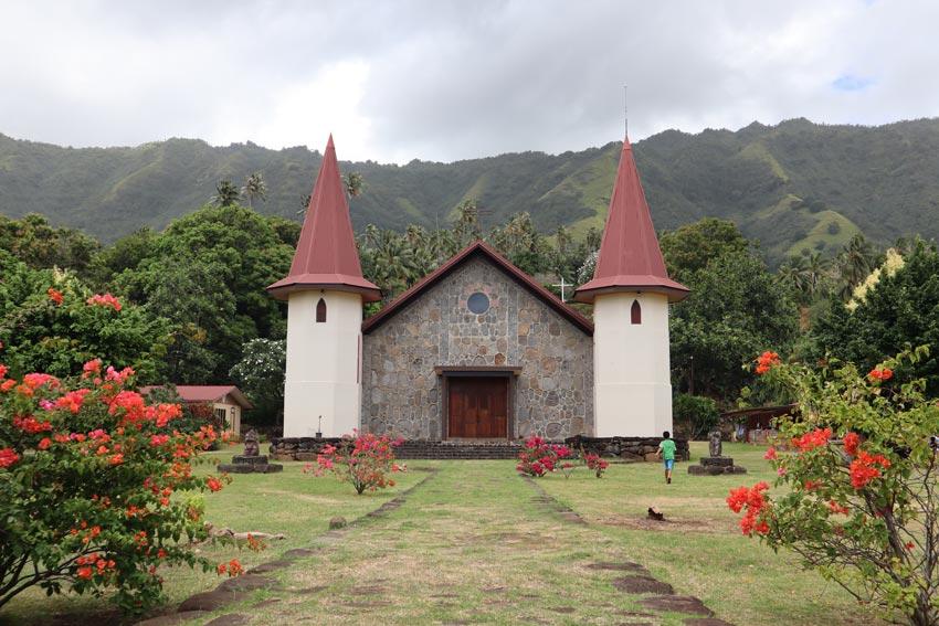 church in Hatiheu - nuku hiva - marquesas islands - french polynesia