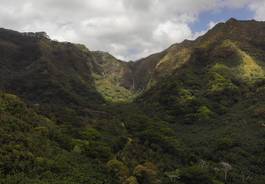 distant waterfall on road to Hatiheu - nuku hiva - marquesas islands - french polynesia
