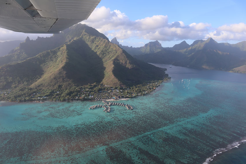 mount rotui and hilton overwater bungalows - scenic flight - moorea - french polynesia