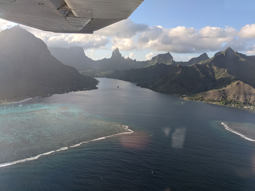 opunohu bay on scenic flight - moorea - french polynesia