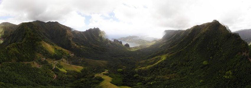 panoramic view of Hatiheu - nuku hiva - marquesas islands - french polynesia