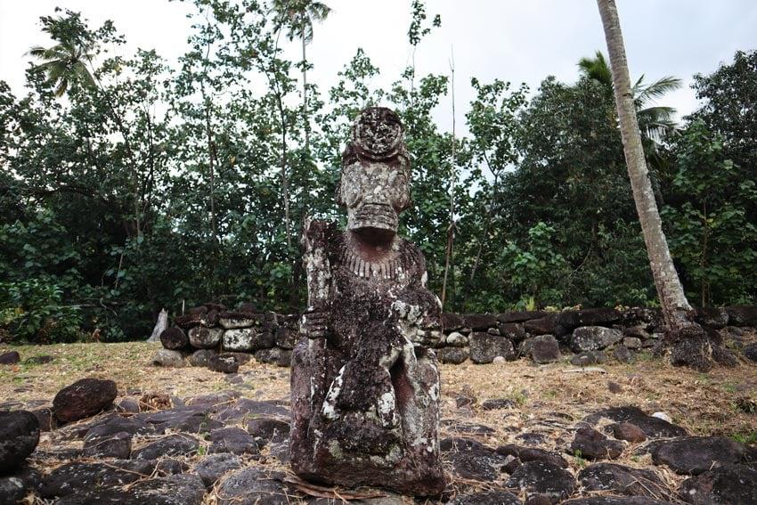 stone tiki statue Hikokua archeological site - nuku hiva - marquesas islands - french polynesia