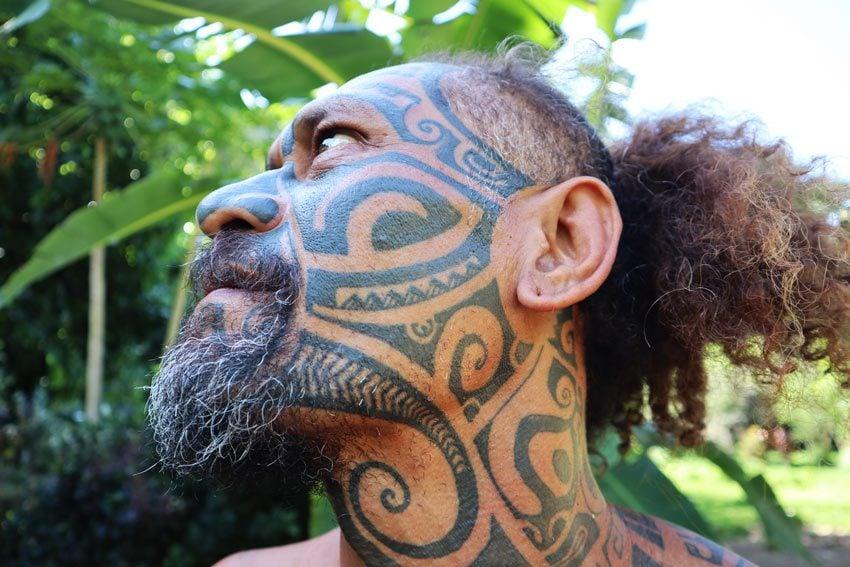 traditional marquesan facial tattoo - Hakaui Valley - nuku hiva - marquesas islands - french polynesia