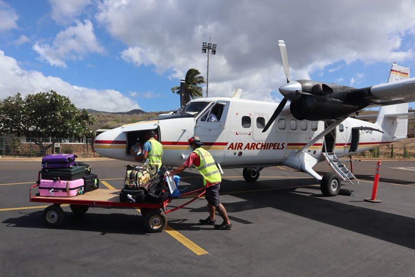 twin otter flight to - nuku hiva - marquesas islands - french polynesia