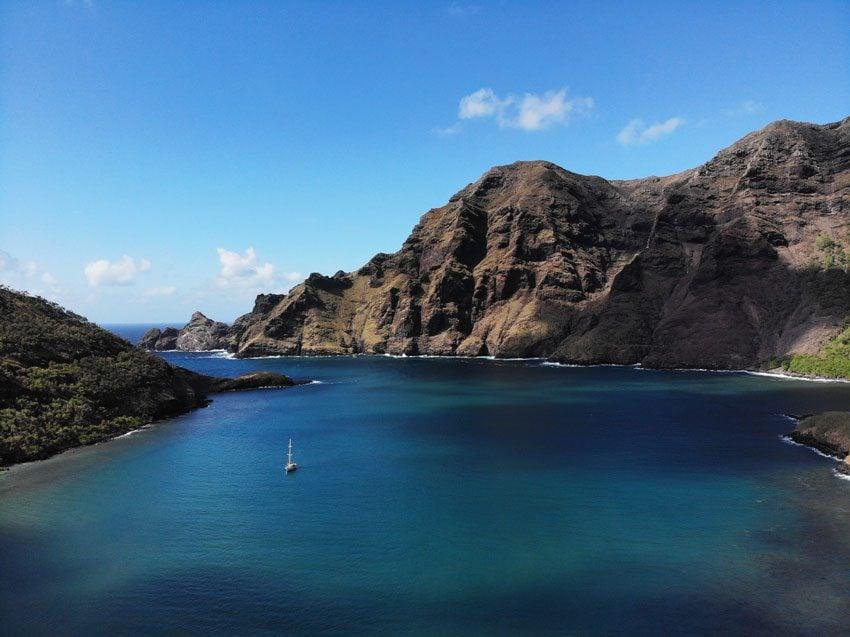 yacht in Hakatea Bay - nuku hiva - marquesas islands - french polynesia